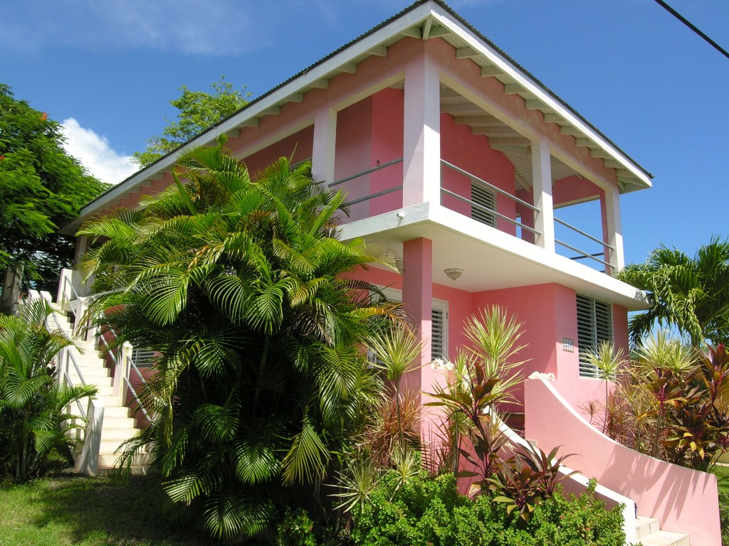The view of The Pink House from the street