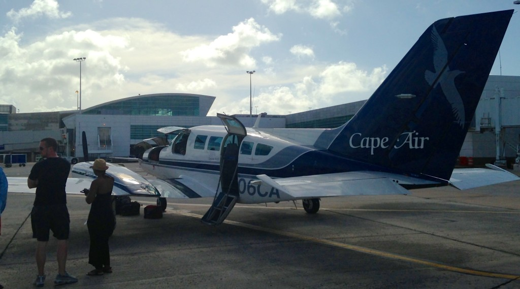 A Cape Air Cessna 402 awaits luggage and passengers at San Juan