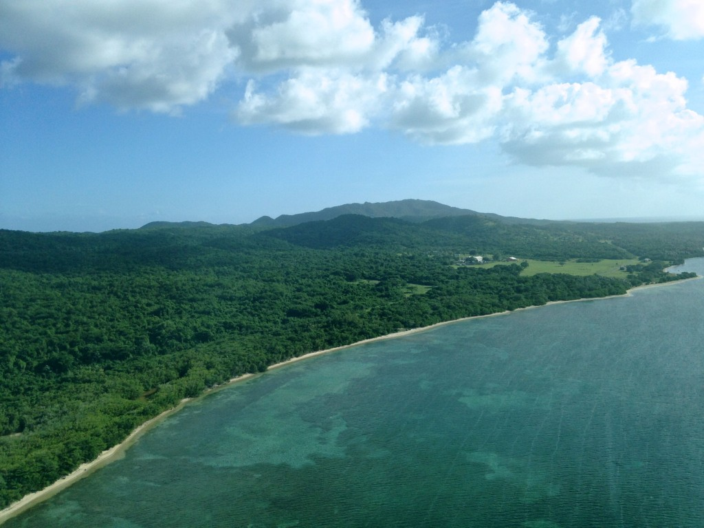 If you don't like the idea of traveling on a small airplane, consider it a sightseeing flight - this is the view of the Vieques coastline